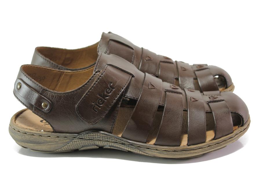 Мъжки сандали - естествена кожа - кафяви - EO-13928
