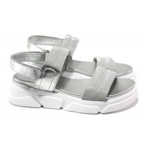 Дамски сандали - висококачествен текстилен материал - сребро - EO-13972