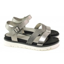Дамски сандали - висококачествена еко-кожа - сиви - EO-13973