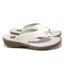Дамски чехли - естествена кожа - бели - EO-13975
