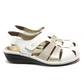 Равни дамски обувки - естествена кожа - бели - EO-13967