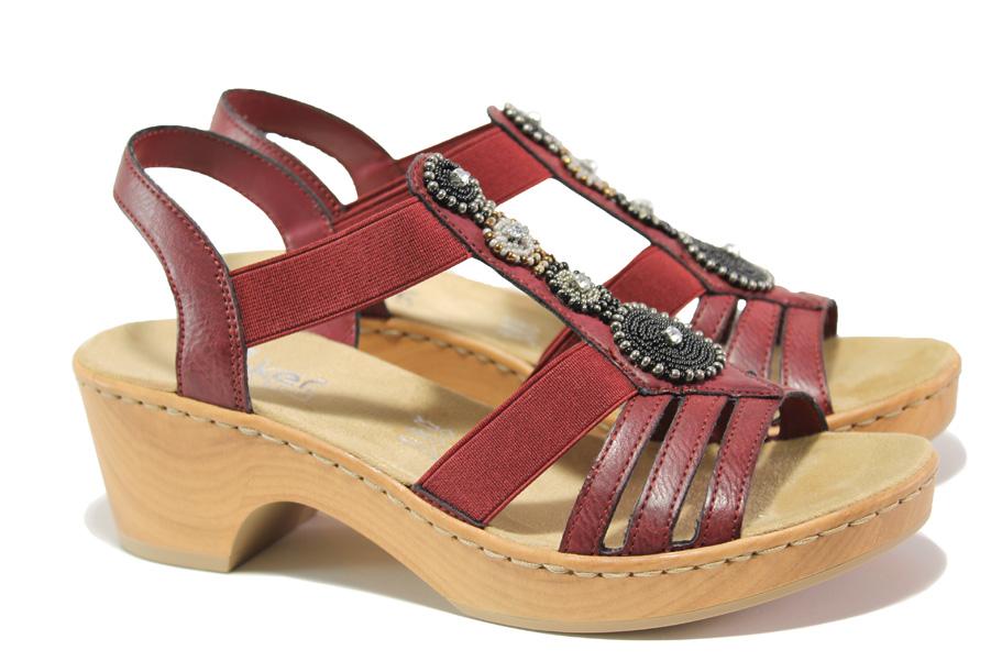 Дамски сандали - еко-кожа с текстил - червени - EO-13965