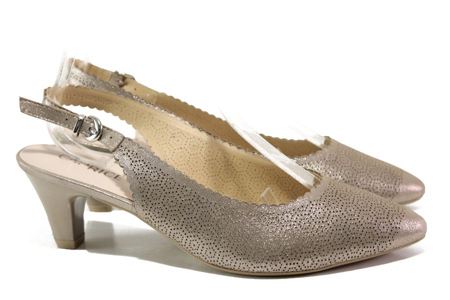 Дамски обувки на среден ток - естествена кожа - бежови - EO-13968