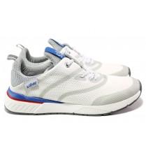 Мъжки маратонки - висококачествен текстилен материал - бели - EO-14002