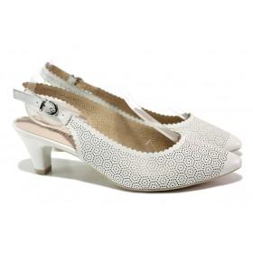 Дамски обувки на среден ток - естествена кожа - бели - EO-14006