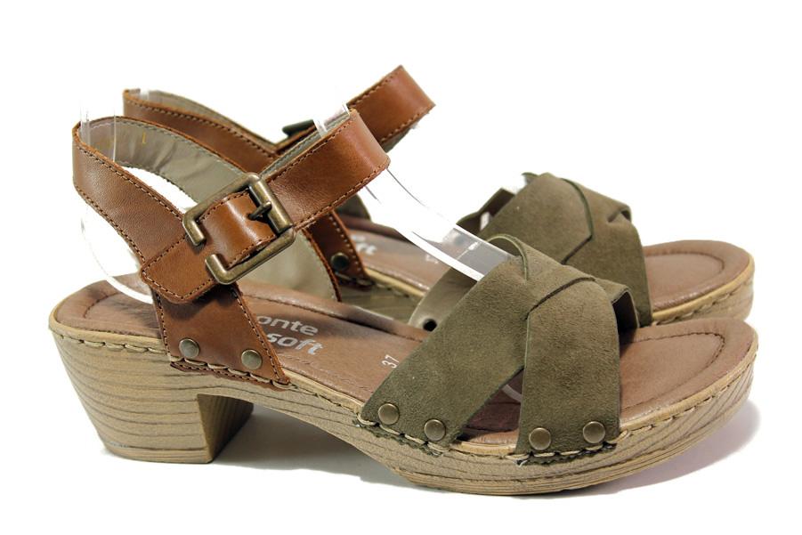 Дамски сандали - естествен набук - зелени - EO-14004