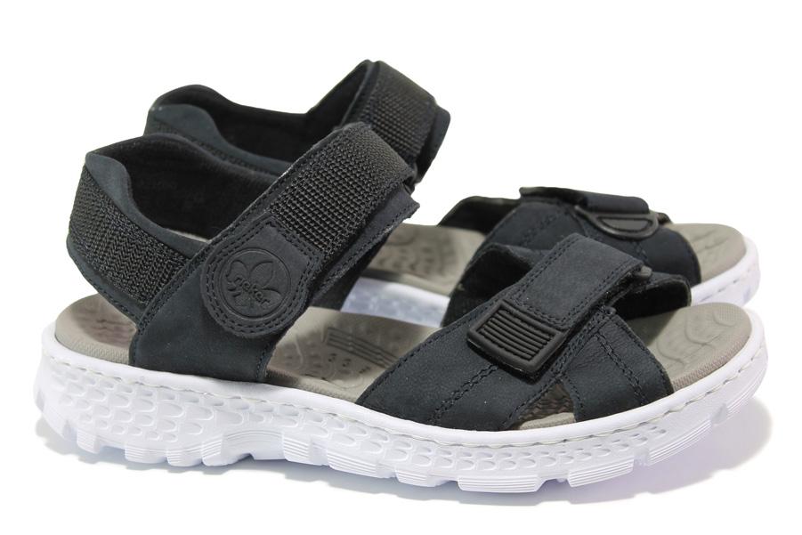 Дамски сандали - висококачествена еко-кожа - тъмносин - EO-14005
