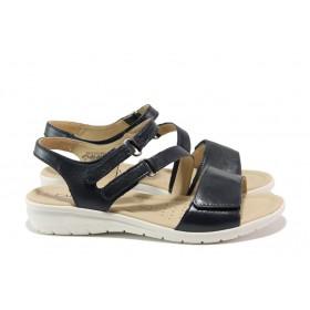 Дамски сандали - естествена кожа - тъмносин - EO-14009