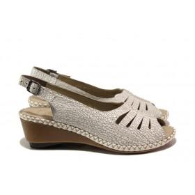Дамски сандали - естествена кожа - бели - EO-14007