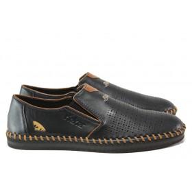 Мъжки обувки - естествена кожа - черни - EO-14018