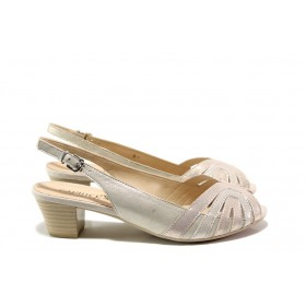 Дамски сандали - естествена кожа - розови - EO-14021