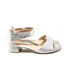 Дамски сандали - естествена кожа - сребро - EO-14020