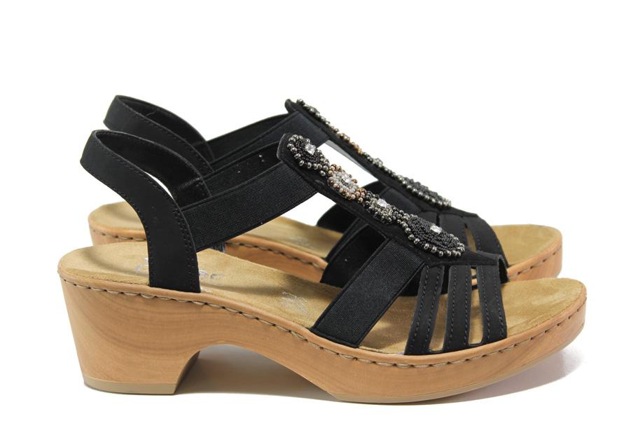 Дамски сандали - еко-кожа с текстил - черни - EO-14065