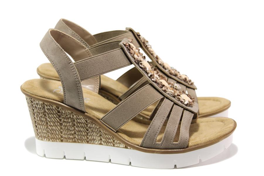 Дамски сандали - еко-кожа с текстил - бежови - EO-14066
