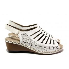 Дамски сандали - естествена кожа - бели - EO-14146