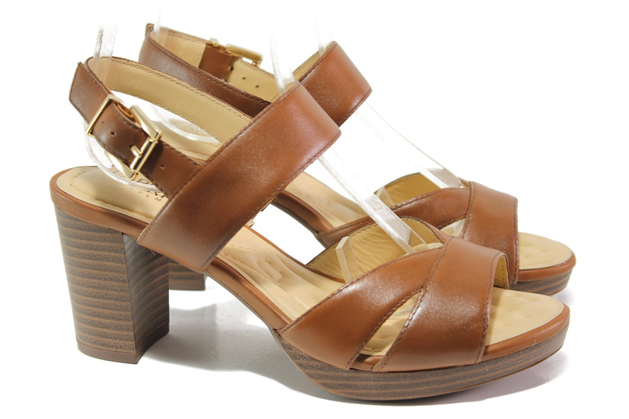 Дамски сандали - естествена кожа - кафяви - EO-14194