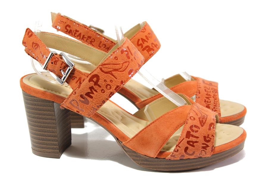 Дамски сандали - естествен велур - оранжеви - EO-14193