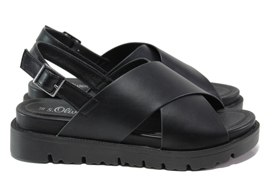 Дамски сандали - висококачествена еко-кожа - черни - EO-14191
