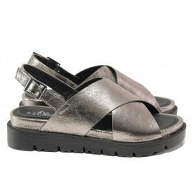 Дамски сандали - висококачествена еко-кожа - сиви - EO-14192