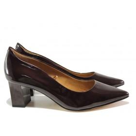 Дамски обувки на среден ток - естествена кожа-лак - бордо - EO-14393