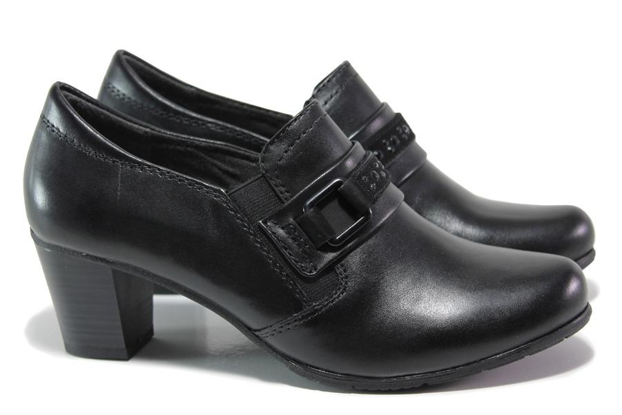 Дамски обувки на среден ток - естествена кожа - черни - EO-14411