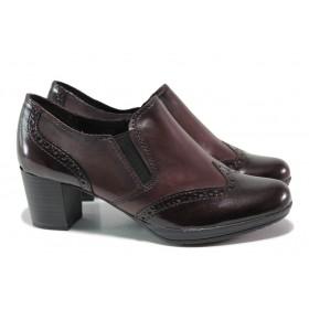 Дамски обувки на среден ток - естествена кожа - черни - EO-14412