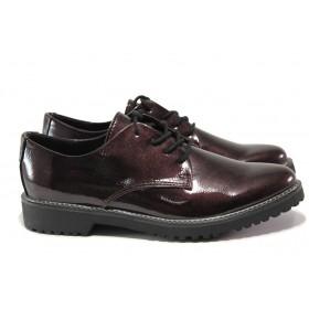 Равни дамски обувки - еко кожа-лак - черни - EO-14405