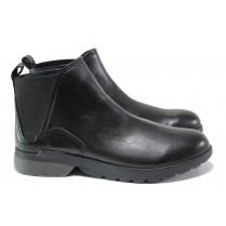 Дамски боти - естествена кожа - черни - EO-14431