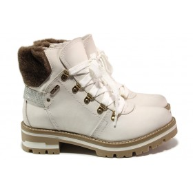 Дамски боти - висококачествена еко-кожа - бели - EO-14436