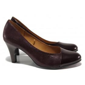 Дамски обувки на висок ток - естествена кожа-лак - бордо - EO-14477