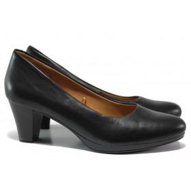 Дамски обувки на среден ток - естествена кожа - черни - EO-14474