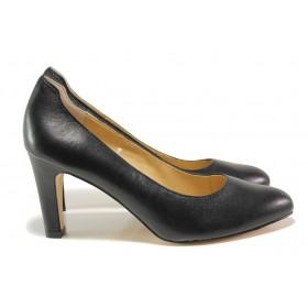 Дамски обувки на висок ток - естествена кожа - черни - EO-14513