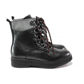 Дамски боти - естествена кожа - черни - EO-14511