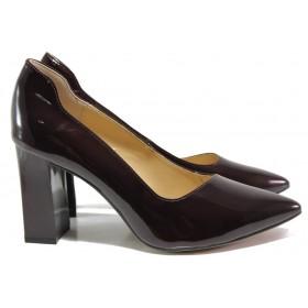 Дамски обувки на висок ток - естествена кожа-лак - бордо - EO-14514