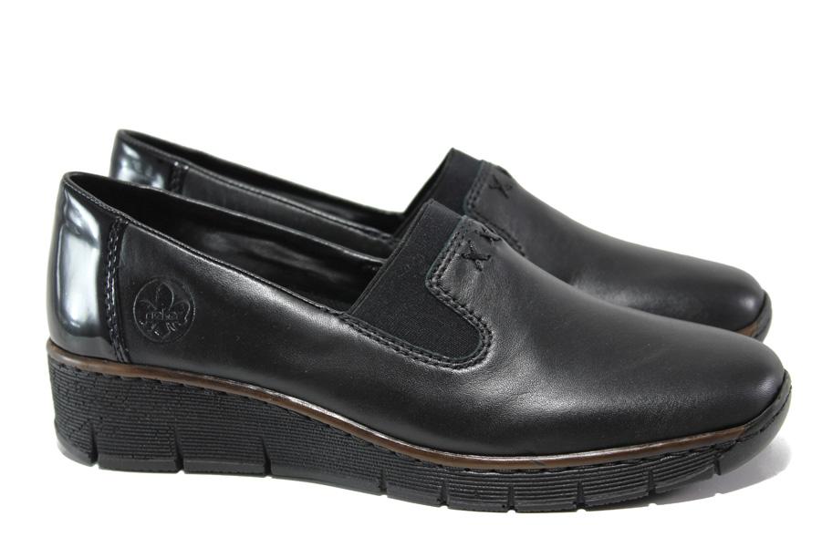 Равни дамски обувки - естествена кожа - черни - EO-14643