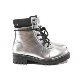 Дамски боти - висококачествена еко-кожа - сребро - EO-14639