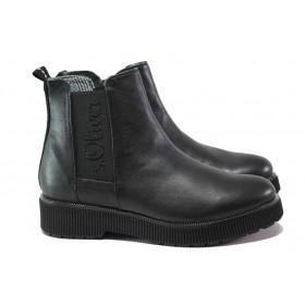 Дамски боти - естествена кожа - черни - EO-14636