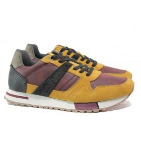 Мъжки обувки - висококачествена еко-кожа и велур - жълти - EO-14651
