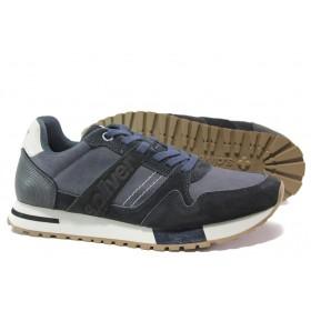 Мъжки обувки - висококачествена еко-кожа и велур - тъмносин - EO-14650