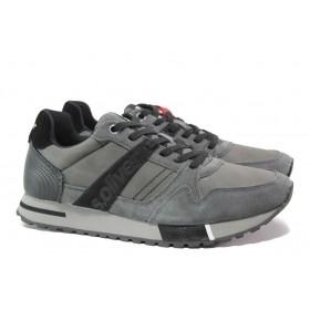 Мъжки обувки - висококачествена еко-кожа и велур - сиви - EO-14649