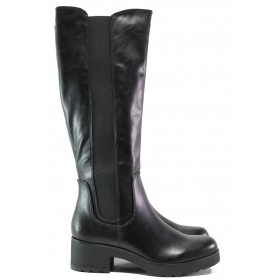 Дамски ботуши - висококачествена еко-кожа - черни - EO-14641