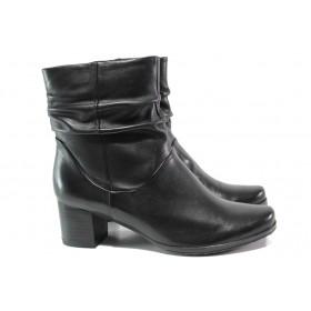 Дамски боти - естествена кожа - черни - EO-14664