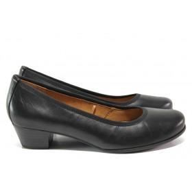 Дамски обувки на среден ток - естествена кожа - черни - EO-14659