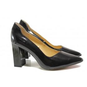 Дамски обувки на висок ток - естествена кожа-лак - черни - EO-14658