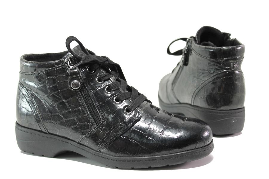 Дамски боти - естествена кожа-лак - черни - EO-14663