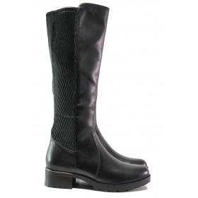 Дамски ботуши - естествена кожа - черни - EO-14667