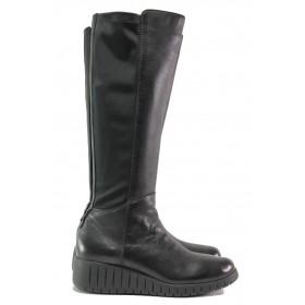 Дамски ботуши - естествена кожа - черни - EO-14668