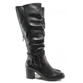 Дамски ботуши - естествена кожа - черни - EO-14666