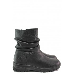 Дамски боти - естествена кожа - черни - EO-14740