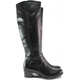 Дамски ботуши - естествена кожа - черни - EO-14774